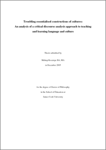 phd thesis discourse analysis A multimodal discourse analysis of video games: a ludonarrative model toh weimin (ma, ba (hons), nus) a thesis submitted for the degree of doctor of philosophy department of english language and literature national university of singapore 2015 acknowledgements this has been a long but fruitful five years of my phd.