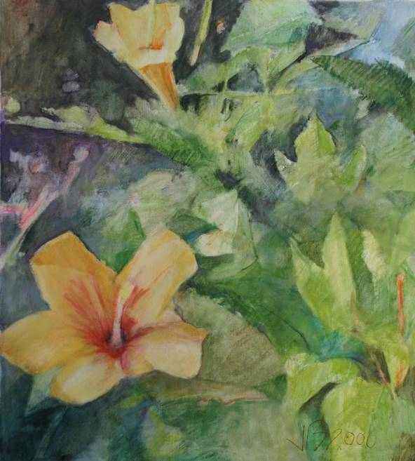 """""""Yellow Trumpets"""" a painting referencing Lemaire"""