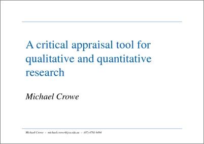 a critical appraisal of qualitative research essay Critical appraisal of a qualitative study example of an effective critical analysis essay overview of qualitative research methods.